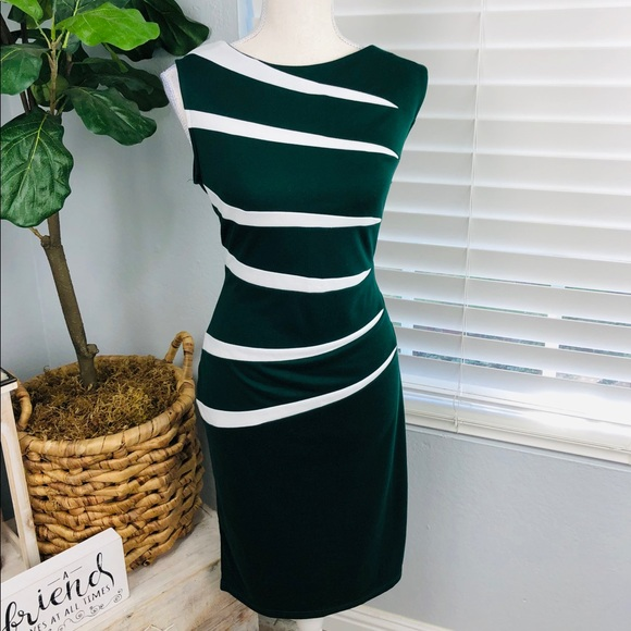NWT PINE DARK GREEN AND WHITE BODY CON DRESS